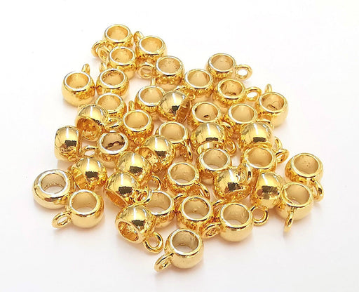 10 Beads Hanger, Charms Hanger 24K Shiny Gold Plated Findings (9x6x4mm)  G22297
