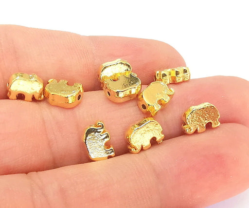 5 Elephants Beads 24K Shiny Gold Plated Beads (9x6mm)  G22298