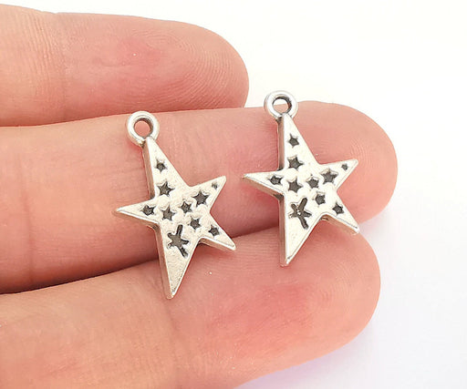 10 Star Charm Antique Silver Plated Charm (22x14mm) G22303