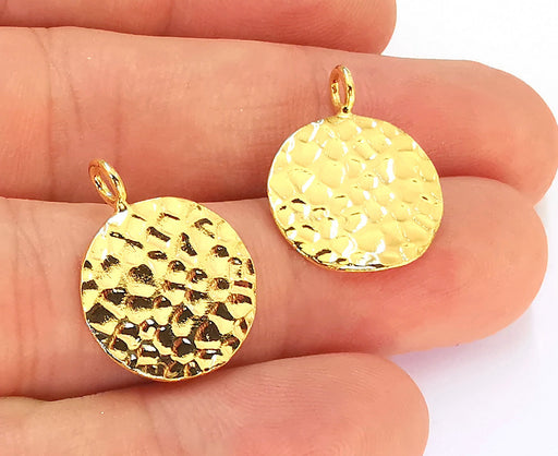 2 Gold Plated Stamping Base 24k Shiny Gold Hammered Tag Gold Plated Brass Charm (22x17mm) G23096