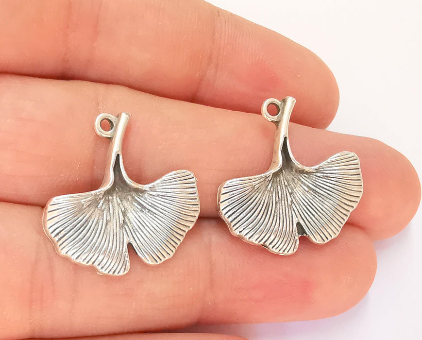 4 Ginko Leaf Charms Antique Silver Plated Charms (24x24mm)  G23165