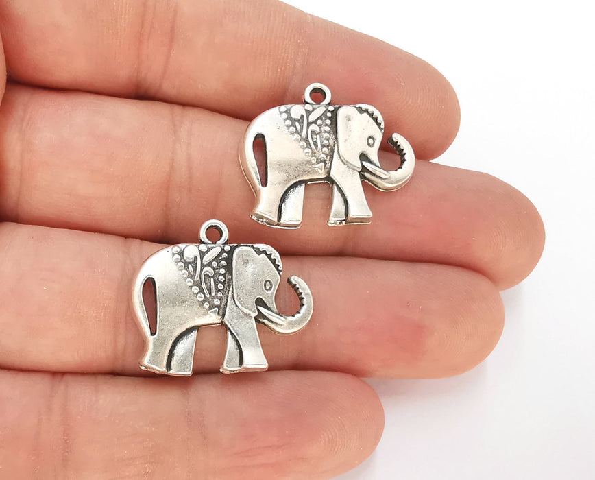 4 Elephant Charm Antique Silver Plated Charms (25x21mm) G23168