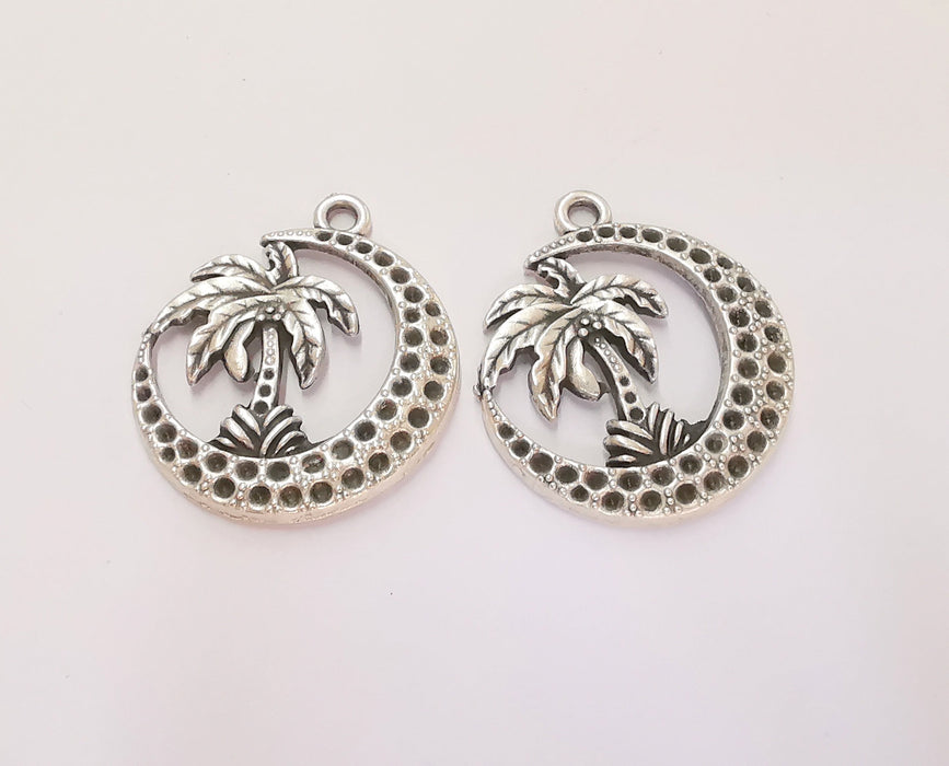 2 Palm Crescent Charms Antique Silver Plated Charms (37x32mm)  G23186