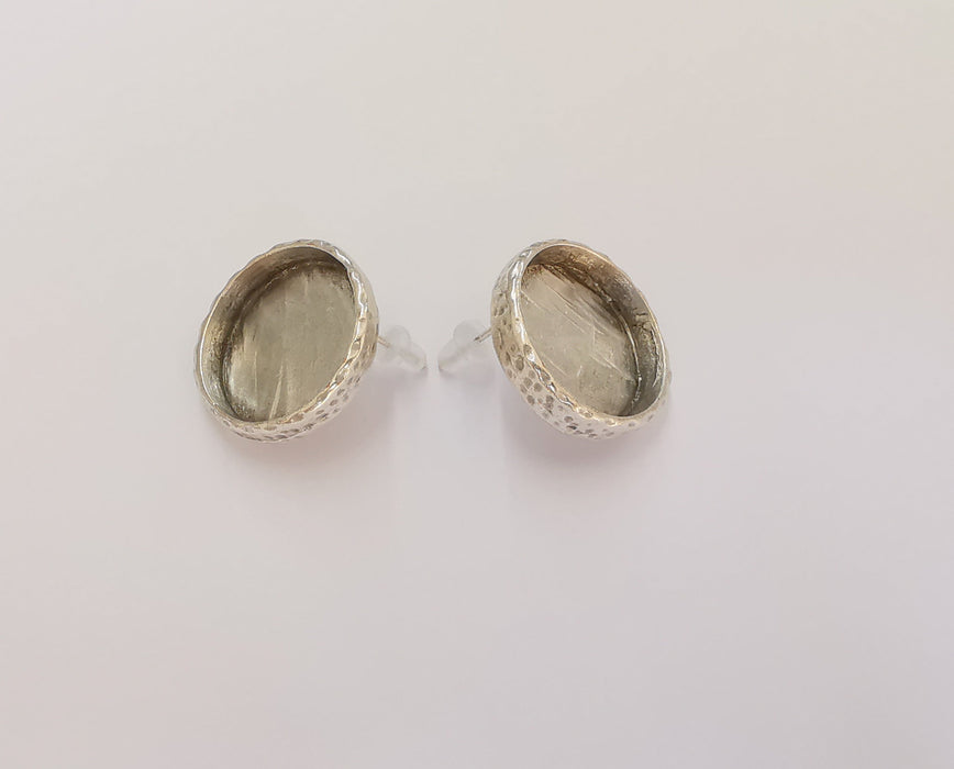Earring Blank Base Settings Silver Resin Blank Cabochon Base inlay Blank Mountings Antique Silver Plated (18mm blank) 1 Set  G23087