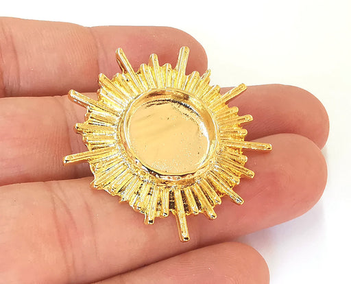Sun Brooch Holders Pin Brooch Blanks Brooch Bezel Shiny Gold Plated Brooch Pin Findings  (16mm Bezel size)  G23144