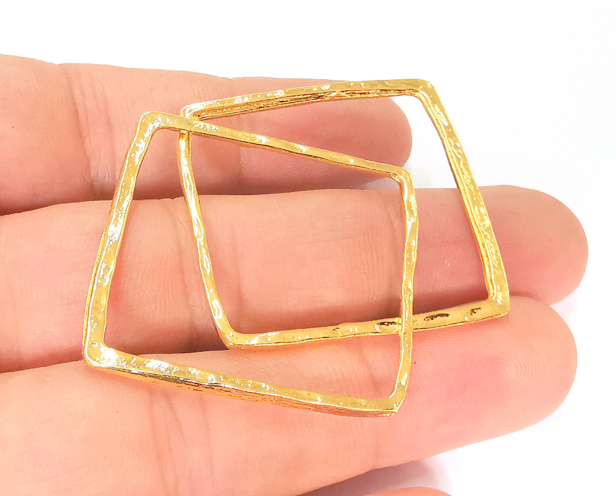 2 Rectangle Charms 24k Shiny Gold Plated Charms (38mm)  G23146