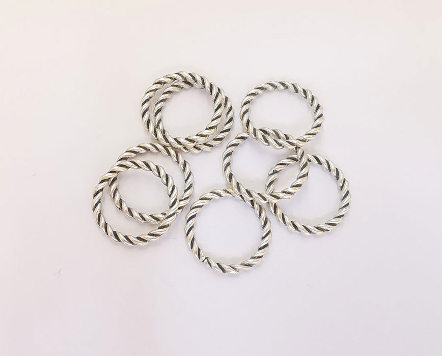 10 Silver Circle Charms Antique Silver Plated Charms (15mm)  G23219