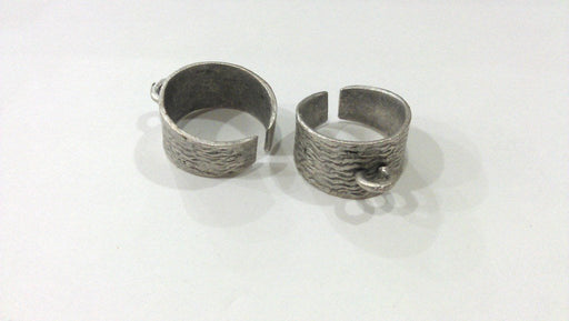 15mm blank Adjustable Ring Blank, Antique Silver Plated Brass G4979