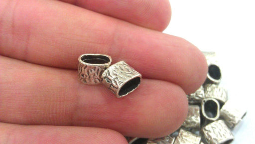 10 Antique Silver Plated Brass  Tube Beads G13673