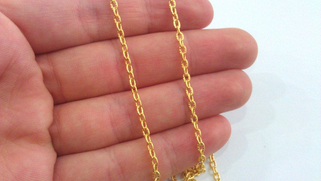 1 mt Gold Cable Chain  (3x4 mm) Gold Plated Chain 1 Meter - 3.3 Feet  G19165