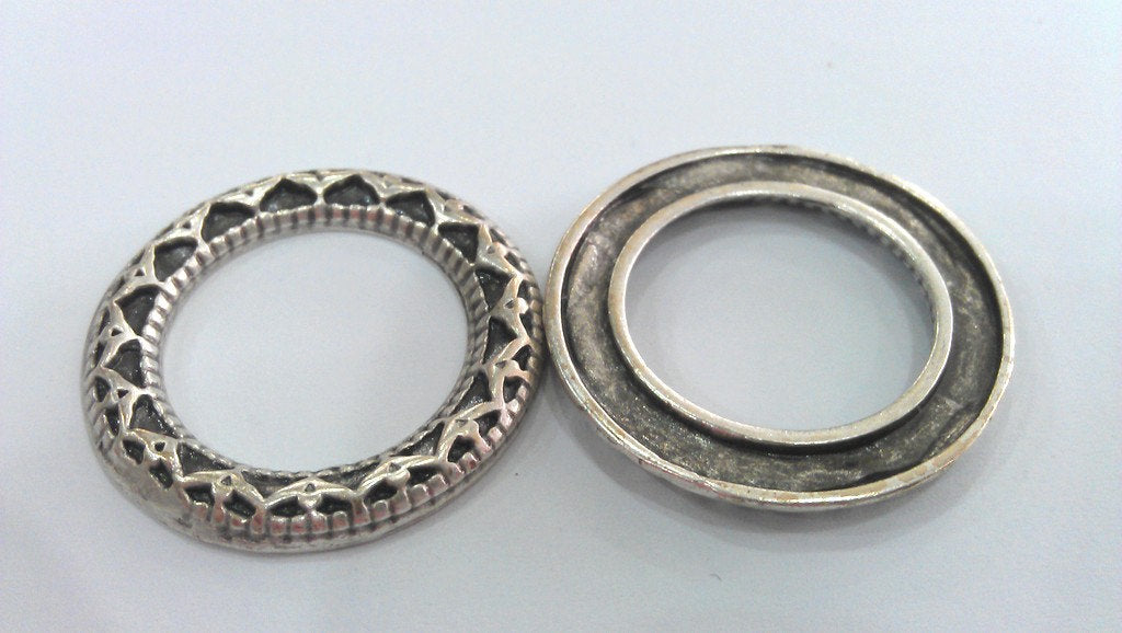 2 Antique Silver Plated Round , Connector ,Pendant,Findings 2 Pcs (35 mm) G10973