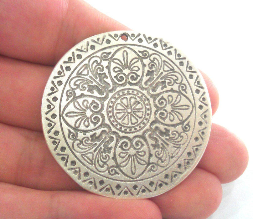 5 Pcs (45 mm) Oxidized Silver Plated  Medallion  Pendants G12294