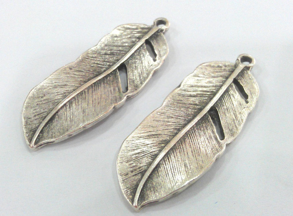 2 Feather Pendant Antique Silver Plated Feather Pendants  (42x16 mm) G9596