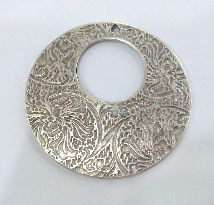 2 Patterned Pendant Silver Plated Metal Medallion Pendants (42 mm) G11071