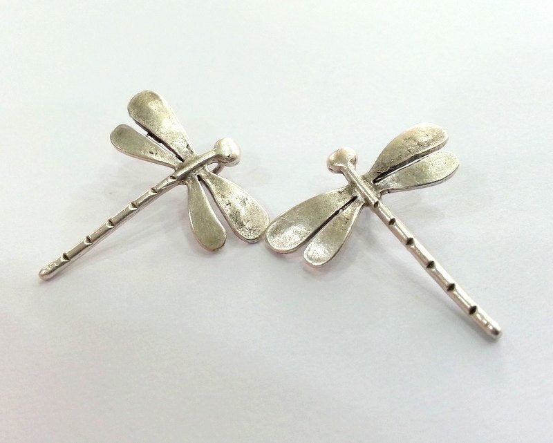 2 Silver Charms Dragonfly Charms Antique Silver Plated Brass   (28x26 mm)  G13683