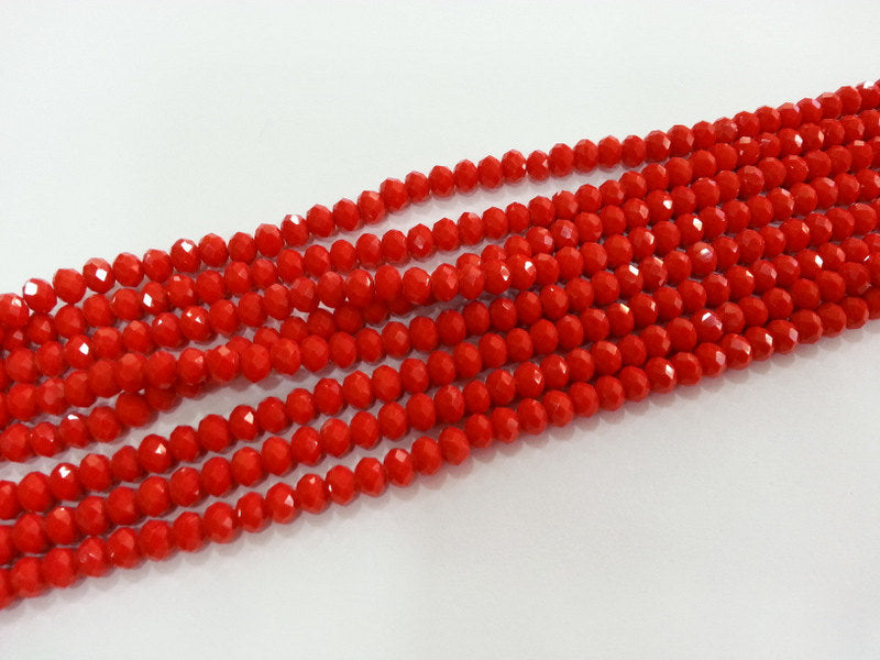 90 Pcs (6x5 mm) Red Rondelle Faceted Glass Beads , 1 strand approx.  45 cm  ( approx. 17,5 inch) G2552
