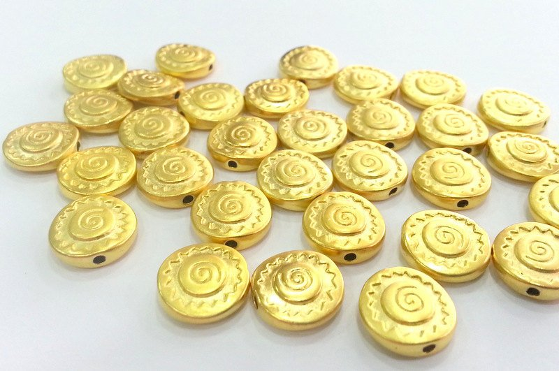 5 Gold Beads Gold Plated Metal Beads  (12 mm)  G2765