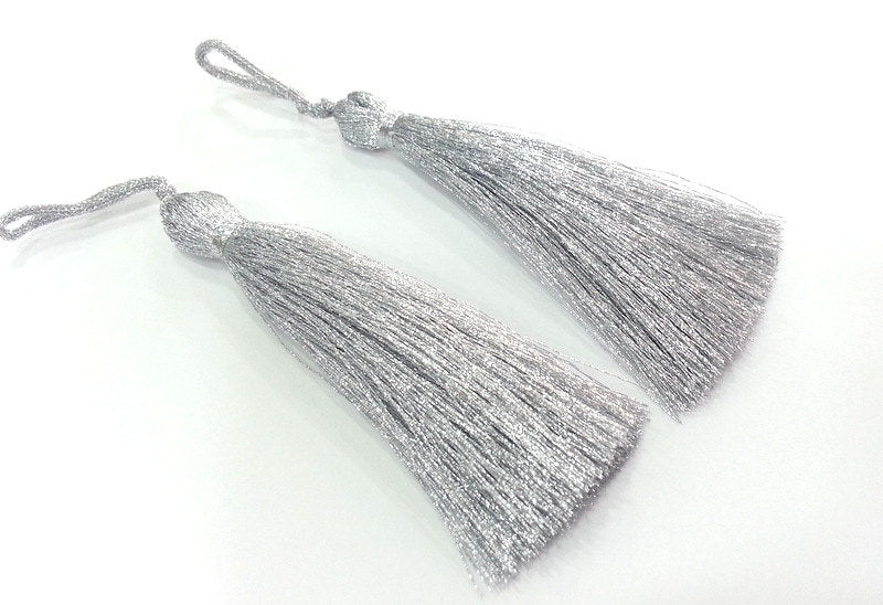 2 pcs (78 mm - 3 inches)  Silver Tassel ,   G9883