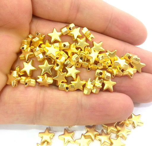 10 Star Beads Gold Plated Star Charms (8 mm)   G9818