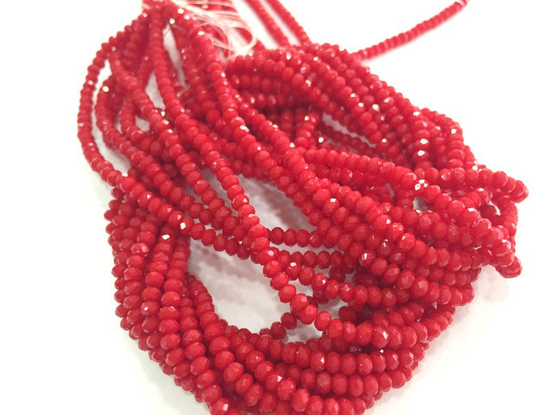 2,5x2 mm Red Rondelle Faceted Glass Beads ,1 Strand   approx 40 cm ( approx 15 inch-  approx 190 Pcs)   G3760