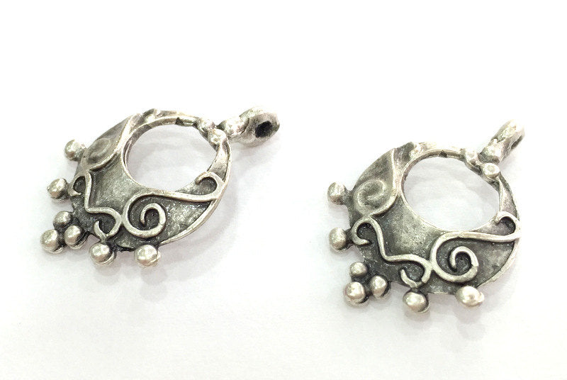 2  Antique Silver Plated Brass Charms 26x17 mm G3812