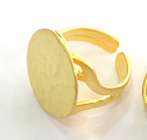 Adjustable Ring Blank, (20mm blank ) Gold Plated Brass G3838