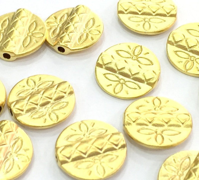5 Gold Beads Gold Plated Metal Round Beads (13 mm) G4543