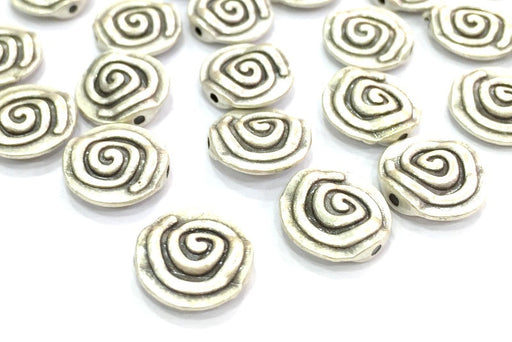 5 Silver Spiral Beads Antique Silver Plated Metal Beads  (12 mm)  G4637