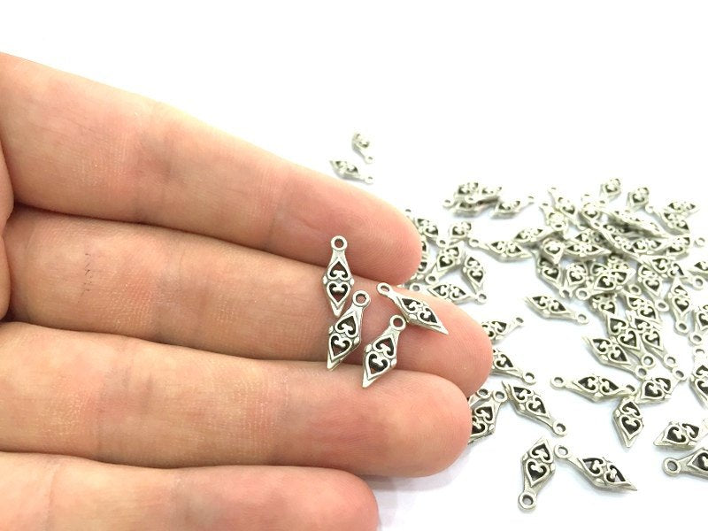 20 Pcs (14x6mm) Antique Silver Plated Metal Charms   G4628