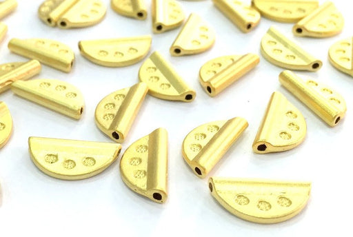 5 Gold Beads Gold Plated Metal Beads (15x8 mm)   G4700