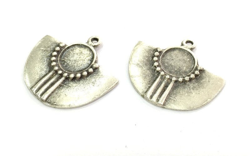 2 Silver Pendant Tribal Patterned Pendant Blank Antique Silver Pendant (36x33mm) Antique Silver Plated Metal  G4711