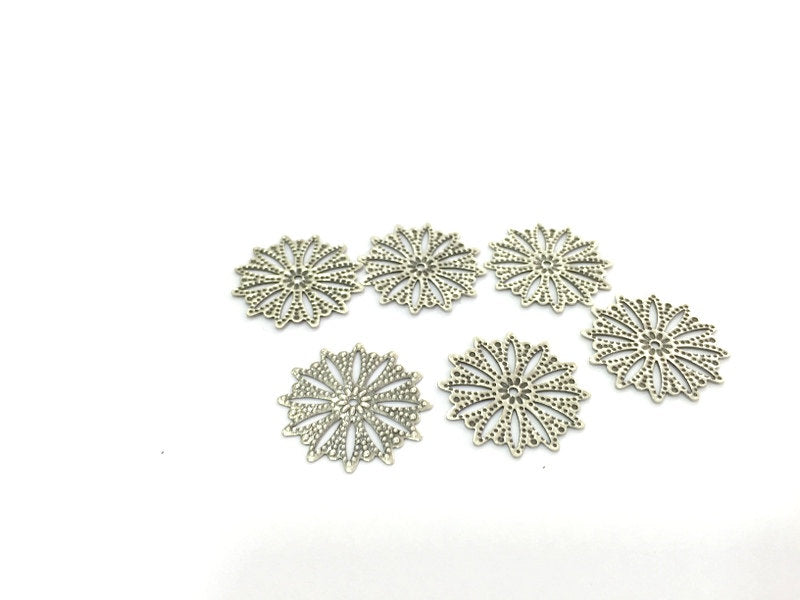4 Pcs (25mm) Antique Silver Plated Brass Charms   G4674
