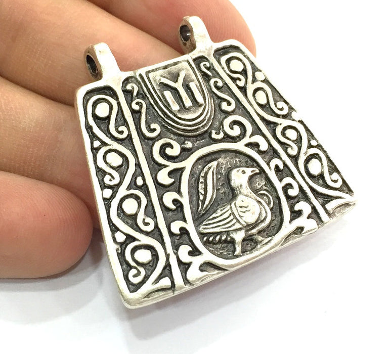 Patterned  Antique  Pendant (42x40mm) Antique Silver Plated Metal  G4715