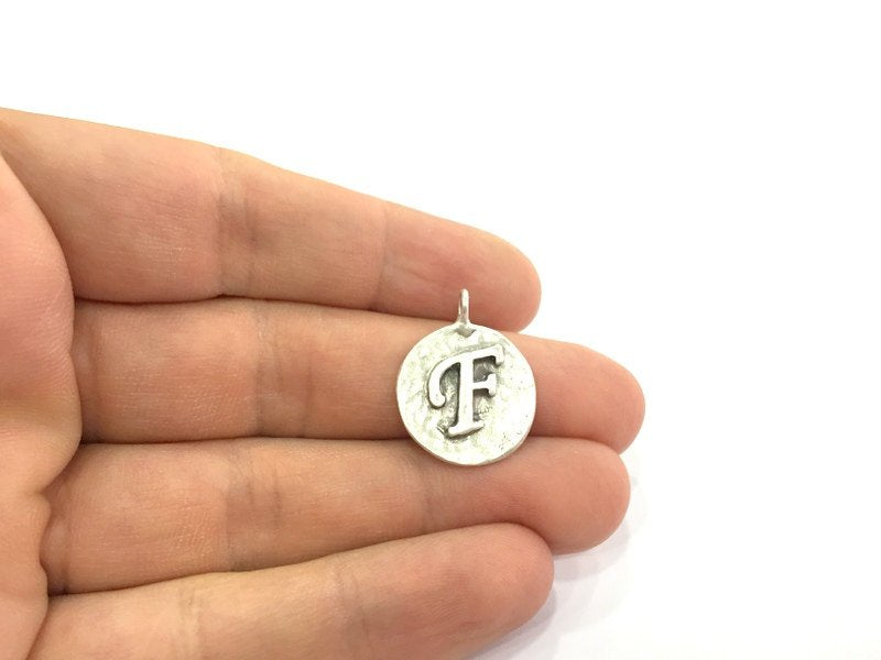 20mm F Charm , Antique Silver  Plated Brass G4876