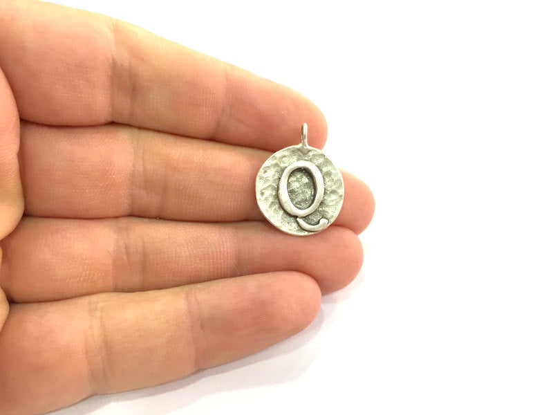 20mm Q Charm , Antique Silver  Plated Brass G4863