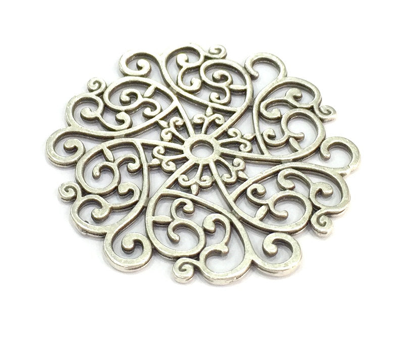 25 pcs Patterned  Pendants (50mm) Antique Silver Plated Metal  G4929