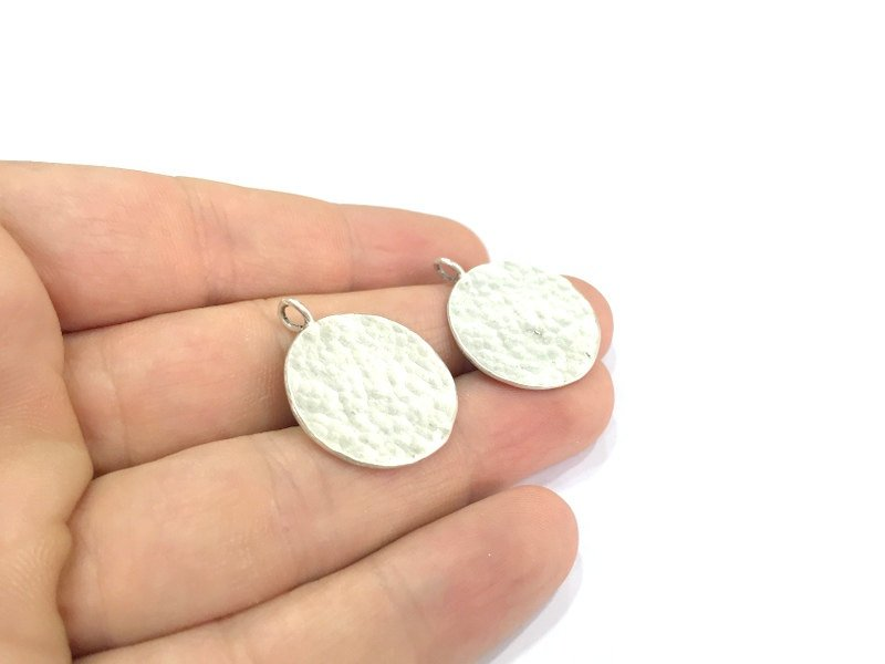 2 Pcs  Antique Silver Plated Brass  Charms 24mm  G4999
