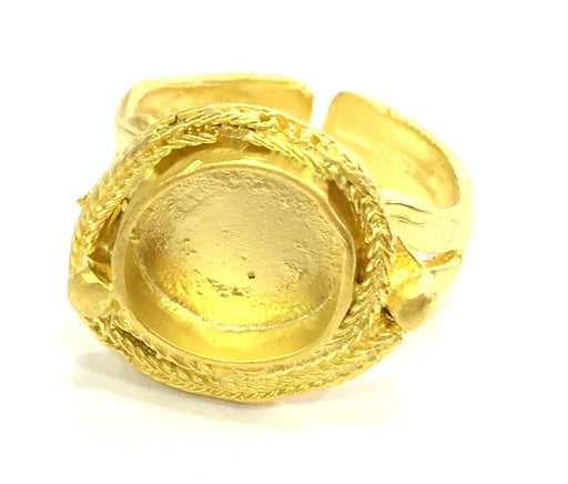 Gold Ring Settings Ring Blank Ring Bezel Base Cabochon Mountings Adjustable (10mm blank )  Gold Plated Brass G5366