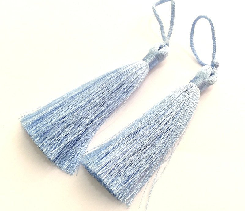 2 Periwinkle Thread Tassel 2 pcs (78 mm - 3 inches)   ,   G9479