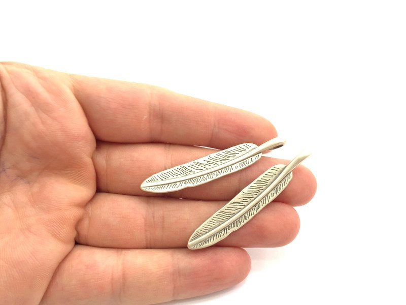 4 Pcs Antique Silver Feather Pendants (45x10mm) Antique Silver Plated Metal  G5871