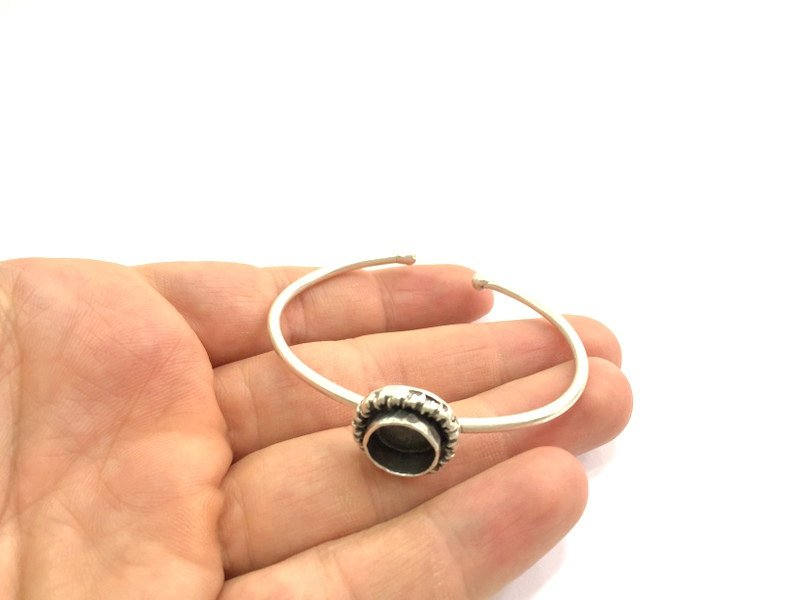 Adjustable Bracelet Blank Findings (10mm  Blank) , Antique Silver Plated Brass G5788