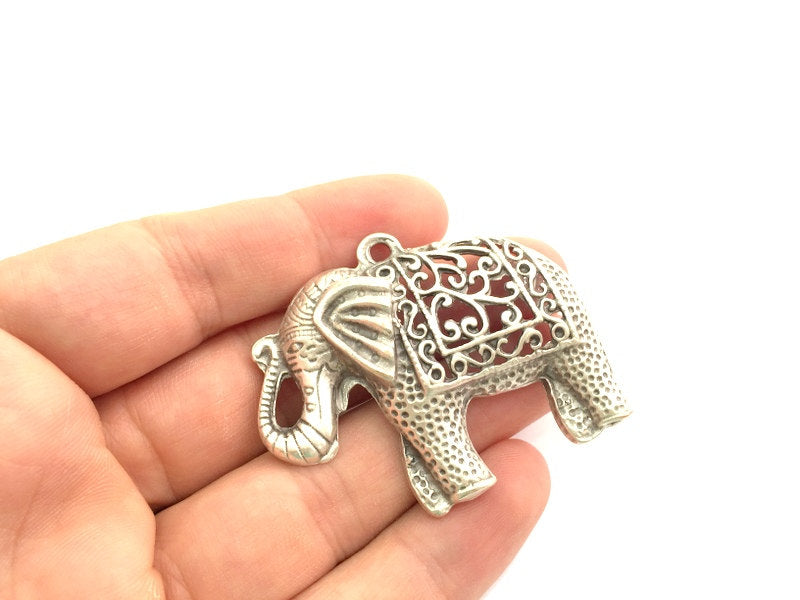Elephant Pendants (57x45mm) Antique Silver Plated Metal  G5976
