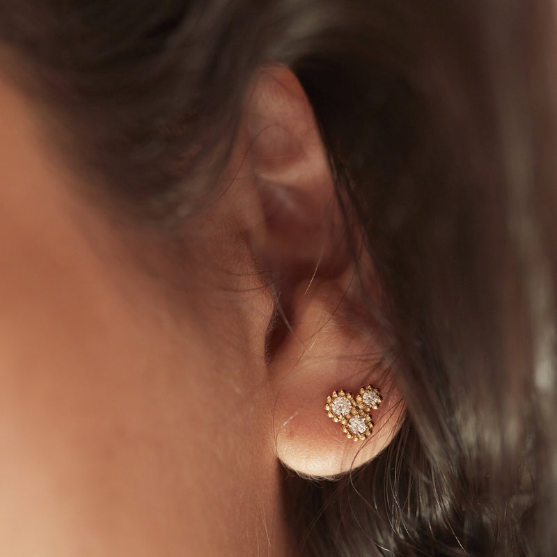 Kimai.co fairtrade and ethical lab grown diamond and gold earrings