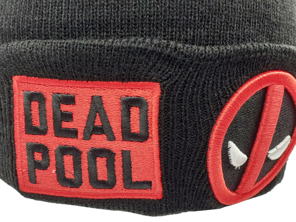 Marvel Deadpool Wade Wilson Logo Black Knit Beanie Hat - Snapback Empire