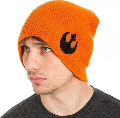 Star Wars Rebel Orange Knit Slouch Beanie Hat - Snapback Empire