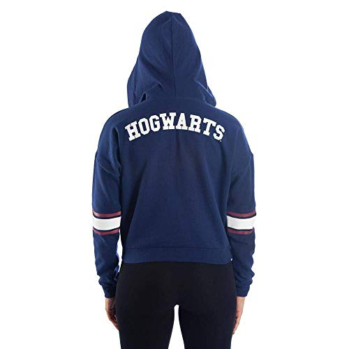 Harry Potter Blue Hogwarts Women's Cropped Cosplay Hoodie Sweatshirt - Snapback Empire