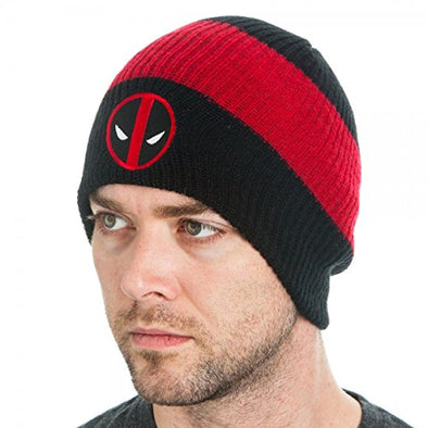 Marvel Deadpool Logo Black Slouch Beanie Hat - Snapback Empire