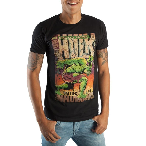 Vintage Hulk Marvel Comic Book Cover Men's Black Graphic Print Boxed Cotton T-Shirt - Snapback Empire