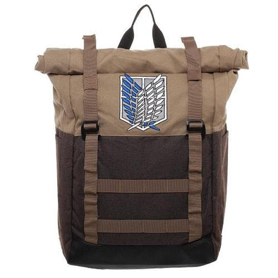 Attack on Titan Roll-Top Laptop Backpack - Snapback Empire