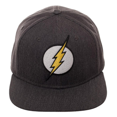 DC Comics The Flash Logo Gray Flex Cap Hat - Snapback Empire